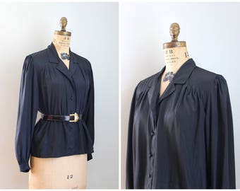 80s secretary style blouse -black silky blouse / 80s blouse - gathered shoulders / New Wave top - black 80s blouse