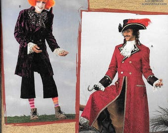 Simplicity 2333 Pirate Hook Captain Morgan Mad Hatter Joker Steampunk Navy Costume Sewing Pattern Size Large And XLarge