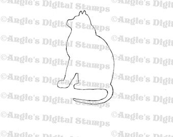 Cat Silhouette Digital Stamp Image