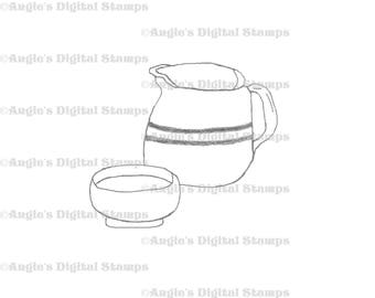Pitcher & Bowl Digital Stamp Image