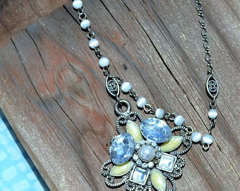 Necklace Vintage Upcycled Paris Chic Bohemian Hand Labyrinth