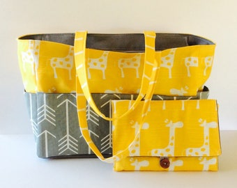 MADE TO ORDER Large Diaper bag set, Gray Arrow /Yellow Giraffe diaper bag and All-in-One diaper clutch/chaging pad set