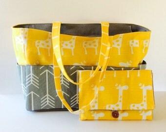 Large Diaper bag set, canvas diaper bag, Gray Arrow /Yellow Giraffe diaper bag, All-in-One diaper clutch/chaging pad, waterproof lining