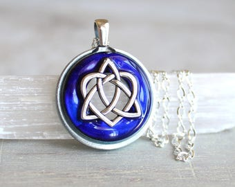 royal blue celtic sister knot necklace, heart jewelry, triquetra necklace, celtic jewelry, unique gift, celtic knot, anniversary gift
