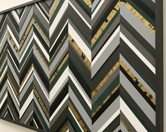 Modern Wood Sculpture Wall Art - Chevron