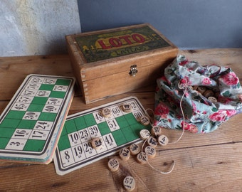Old french LOTO game in box with cards ...