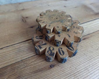 vintage 3 french rubber stamp wheels numbers