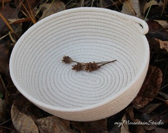 Home Decor and Storage Basket. Natural Handmade Oval Rope Basket. Made in Montana. myMountainStudio Baskets. OOAK Basket 015. Ready to Ship.