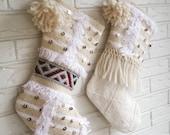 20% OFF SALE Moroccan Wedding Blanket Christmas Stockings with Pom Poms - Modern Bohemian Christmas Decor- Cream Stockings Christmas
