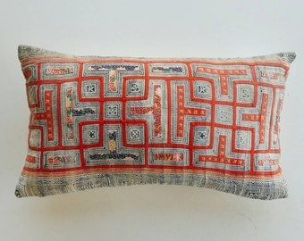 Red and Indigo Batik Pillow Cover - Vintage Hmong Textile - Tribal Boho Pillows