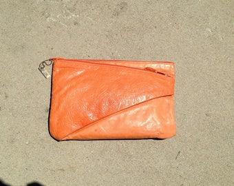 Vintage Letisse Tangerine Leather Clutch Purse