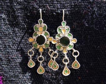 Moroccan Silver Enameled Bereber Ethnic Earrings