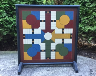 """19"""", Parcheesi, Game Board, Wood, Primitive, Folk Art, Wooden, Game Boards, Hand Painted"""