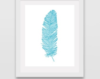 Feather Print Feathers Wall Art Blue Aqua Teal Picture Poster Prints Artwork Painting Decor Drawing Modern Tribal Nursery Girls Room for her