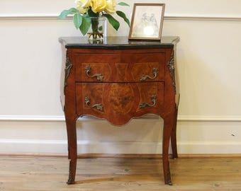 antique french marble top commode bombe chest