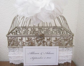 Large 1920s Glam Bird Cage with Ostrich Feathers and Rhinestones-Wedding card holder