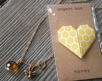 Gold Bee, Honeycomb, and Citrine Charm Necklace with Origami Heart Card