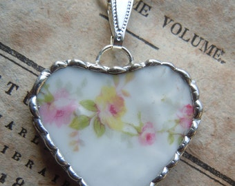 Fiona & The Fig Antique Victorian - French Limoges - ROSES -Broken China - Pink Roses - Soldered Necklace Pendant Charm- Jewelry