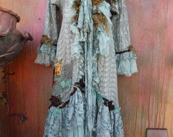 """20%OFF gothic bohemian boho lagenlook jacket gypsy lace jacket coat ....work of art!!  small to 38"""" bust...."""