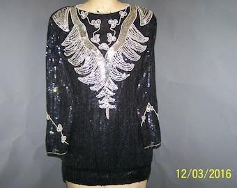 Vintage 1990's Black Sequined M-L Great Party Blouse