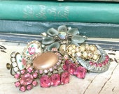 Pink Rescued Jewelry for Assemblage / Bouquet Filler / Rhinestones / Vintage Altered Art Pieces (A3)