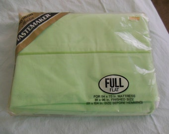 Mint Green Full Flat Sheet By Tastemaker, Old Stock, New in Package