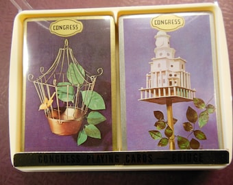 Congress Birdcage Birdhouse Decks of Playing Cards, Vintage 1950s  NIP, Old Stock Sealed