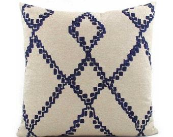 Indigo Blue Batik Pillow Cover, 18x18, 20x20, 22x22 Eurosham or Lumbar, Chevron Blue and Tan Throw Pillow, Accent Pillow, Lacefield Medina
