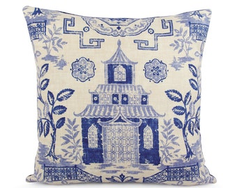 Blue Beige Teahouse Pagoda Decorative Pillow Cover, Chinoiserie Toss Pillow, Asian Accent, Richloom Duralee Lapis, Custom Pillow Cover