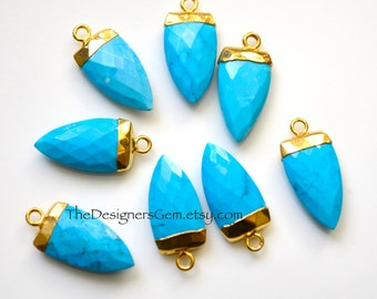 Turquoise Howlite Gold Dipped Marquis Pendant, Turquoise Pendant, Gold Dipped Pendant  22x10mm