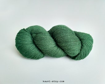 KAUNI Undyed Wool Yarn, Worsted Weight 8/2  2ply, 100% wool, Green