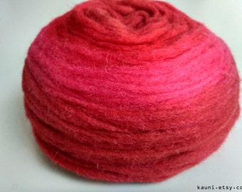 Self Striping Chunky Wool Pencil Roving, for Knitting, Crocheting, Spinning or Felting, Red and Pink Gradient