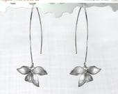 15 Off. Flower Earrings. Wild Orchid. Solo Flower Earrings in Gold or Silver. Single Orchid on A Long Earwire.