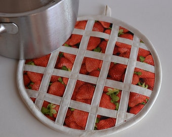 Strawberry Pie Hot Pad Pot Holder, kitchen fruit decor