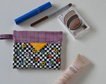 Patchwork Quilted Snap Bag,Cotton Cosmetic Pouch, Jewellery Pouch