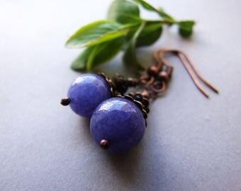Royal Blue Dangle Earrings, Vintage Style Blue Earrings, Night Jewelry, Blue Gemstone Dangle Earrings