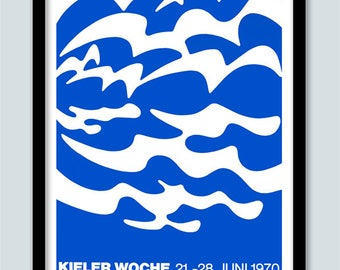Sailing Poster . Vintage Stamp Print. A2 size . Kieler Woch Poster . Nautical Poster . Modern Art . German Poster. Stamp Art