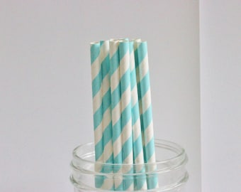 Straws Blue and White Striped 25+ Paper Drinking Straws / Parties / Mason Jar Straws