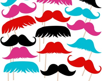 Printable Mustache Photo Booth Props, Moustache Photobooth Props, Little Man Props, Instant Download - DP403