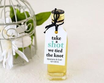 Wedding Favor Tags - Shot Wedding Favor, Mini Liquor Bottle Label, Take a Shot We tied the Knot - Set of 25, 1.25 x 2.25 inches, CAS smt