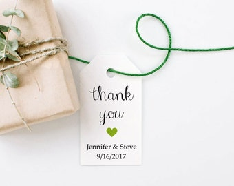 Thank You Tag with a Heart, Wedding Favor Tags, Kraft Paper, Rustic Favors, Gift Tag, Shower Favor Kit  - Set of 25, 1.25x2.25