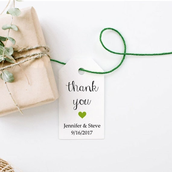 Personalized Wedding Favor Tags, Kraft Paper, Rustic Favors, Gift Tag, Shower Favor Tag, Thank You Tag with a Heart - Set of 25, 1.25x2.25