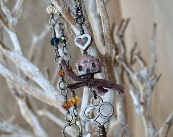 Home is Where the Heart Is - Antique Key Necklace - House Necklace - Assemblage Necklace