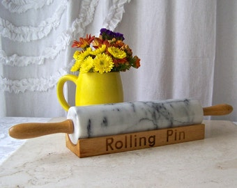 Vintage Marble Rolling Pin Maple Handles Rolling Pin Retro Kitchen Pies Baking 1980s