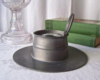 Antique Ink Pot  Pewter Inkwell England Rare Pewter Ink Pot Antique Office Decor Vintage 1850s