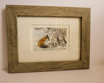 Fox drypoint with hand-colouring