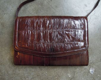 Vtg Eelskin Dark Brown Mahogony Leather Envelope Patchwork Handbag Shoulder Purse Convertible Clutch 70s 80s