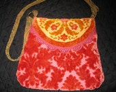 Boho Pink Velvet Crazy Quilt Purse. Embroidered handmade Cross body Bag