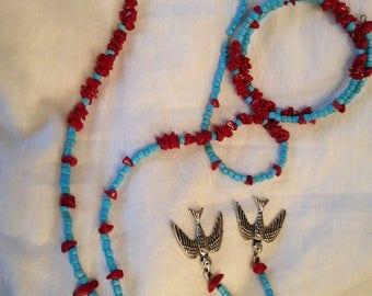 Handmade Red and Turquoise Color Metal and Glass Beaded Necklace Memory Bracelet And Earring Set One of a Kind with South Western Style Bird