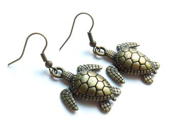 Turtle Antique Brass Earrings
